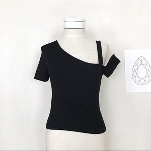 Zara Knit Black Top With Asymmetrical Sleeves